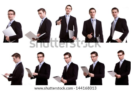 Collection of young business man with laptop and touch screen device against   against white background - stock photo