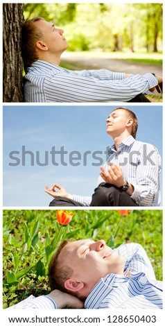 Collection of young businessman resting outdoor - stock photo