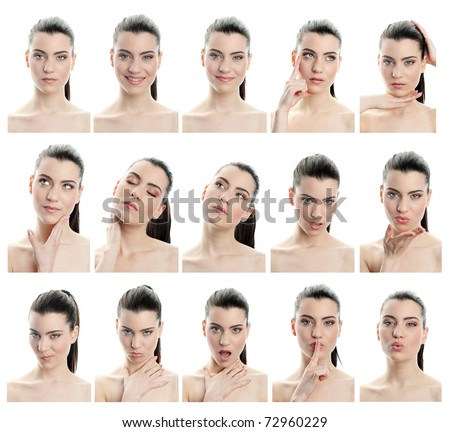 collection of young woman facial expressions, full resolution single images avaliable separatly in my gallery - stock photo