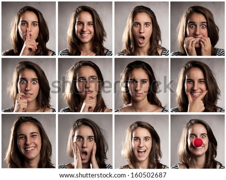 collection of young woman portraits with different expressions - stock photo