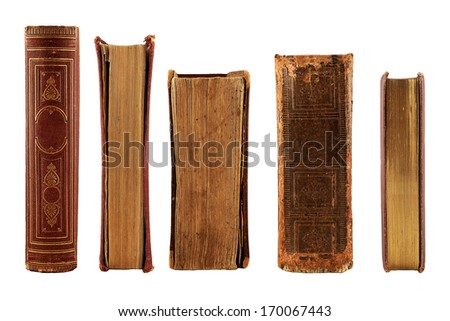 collection old books isolated on white background - stock photo