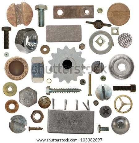 collection old screw heads, gears, old meta, bolts, steel nuts,old metal nail, isolated on white background - stock photo