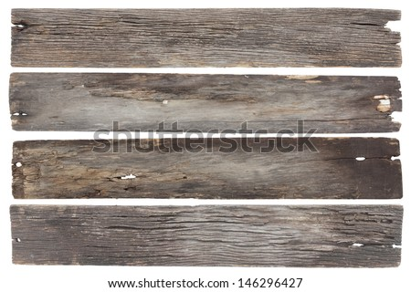 collection old wood plank isolated on white with clipping path - stock photo