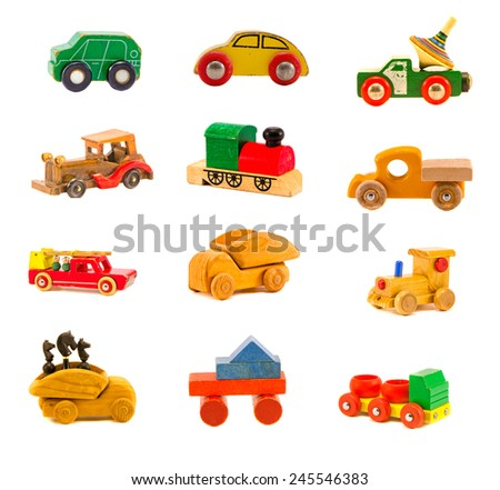 collection old wooden colorful various car truck toys model isolated on white. Twelve objects - stock photo