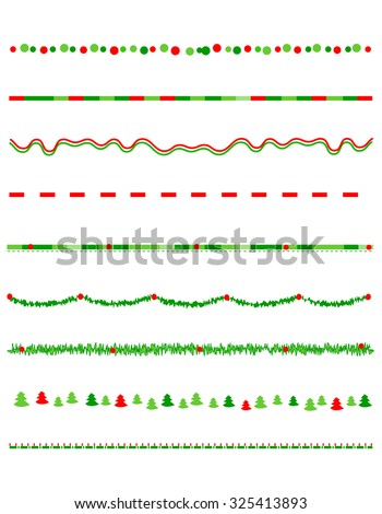 Collection on christmas borders / divider graphics including holly border, candy cane pattern, christmas trees and more - stock photo