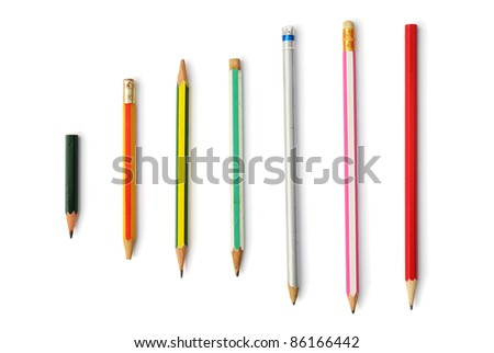 Collection pencil isolated on the white background - stock photo