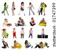 Collection people photos on white - stock photo