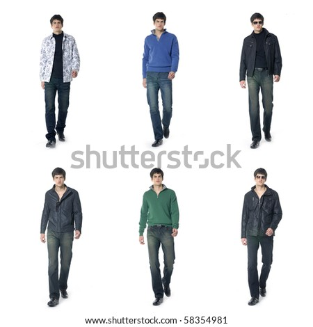 Collection photos of casual young man - stock photo