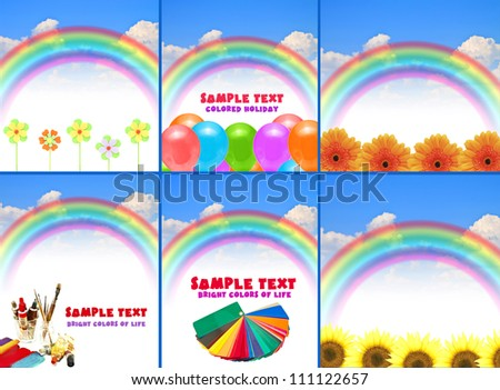 collection rainbow blue summer sky - stock photo