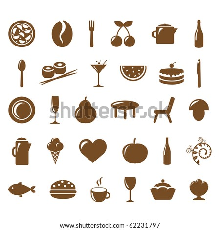 Collection Restaurant Icons - stock photo
