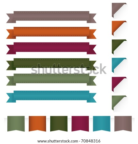 Collection Ribbons, Isolated On White Background - stock photo