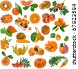 Collection set of all orange color : berries, fruits and vegetables close up isolated on white background - stock photo