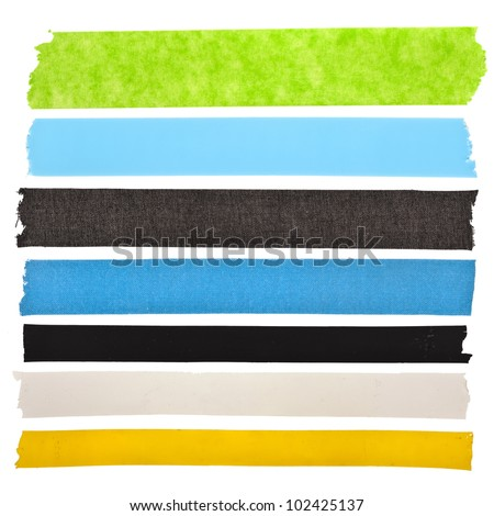 collection set of  colorful  strips adhesive insulating tape or different colored stickers, close up , isolated on white background - stock photo