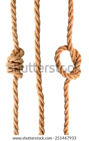 Collection set of Jute Rope with Reef Knot isolated on white background - stock photo