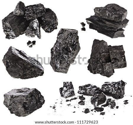 collection set of piece black coal isolated on white background - stock photo