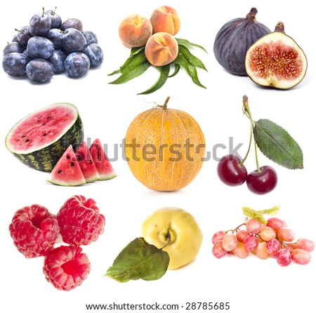 Collection set of ripe heap fruit isolated on white background - stock photo