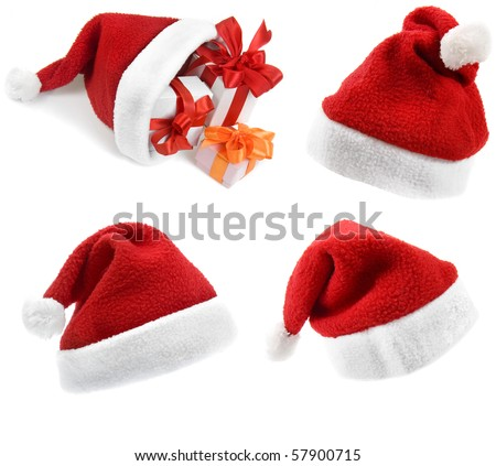 Collection set of Santa Claus hat with Christmas presents isolated on white background - stock photo
