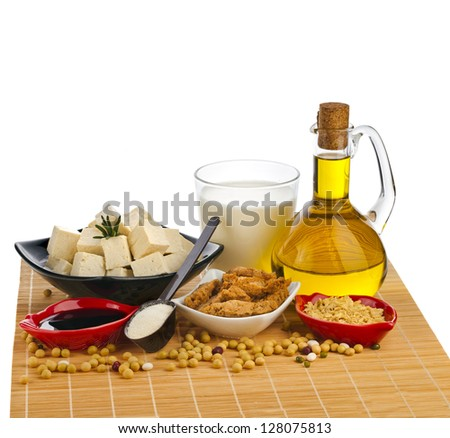 Collection set of Soy products : oil, milk, tofu, meat, sauce, isolated on white background - stock photo