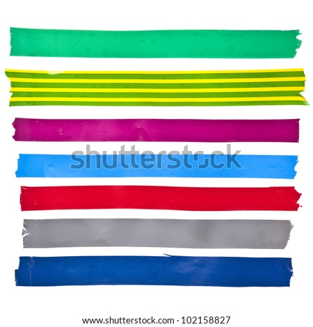 collection set of strips colorful insulating adhesive tape or different colored stickers, close up isolated on white background - stock photo