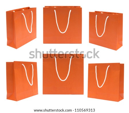 Collection Shopping bag isolated on white background ,orange recycle paper bag. - stock photo