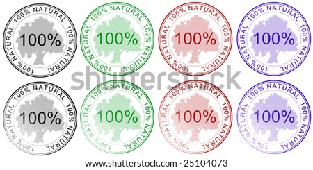 """Collection stamps """"100% natural"""". - stock photo"""