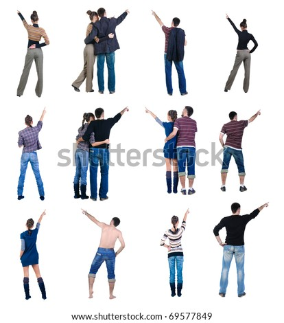 """Collection """"The back of pointing people"""". Rear view. Isolated over white. - stock photo"""