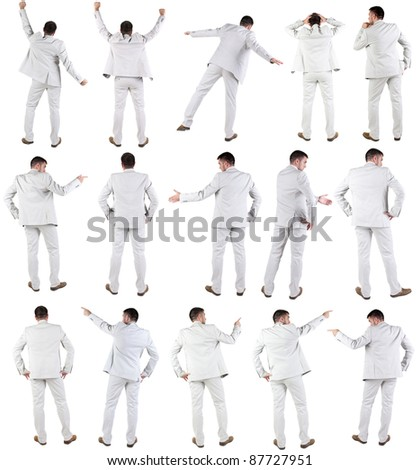"""Collection """"The back of young bisiness man"""". Rear view.  Isolated over white. - stock photo"""