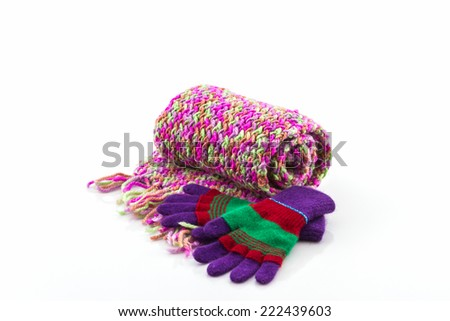 Collection Winter with accessories, Colorful woolen glove and scarf - stock photo