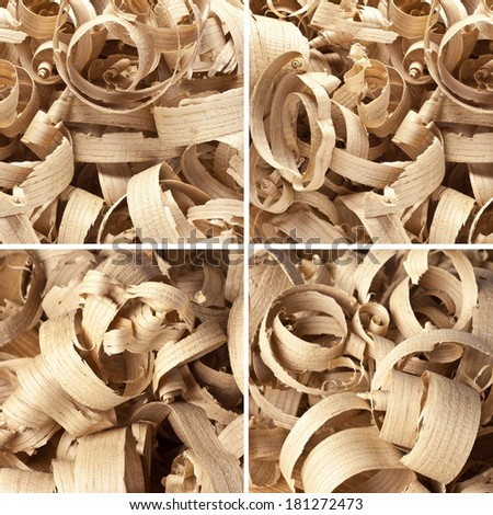 Collection wooden shavings in workshop on planks - stock photo