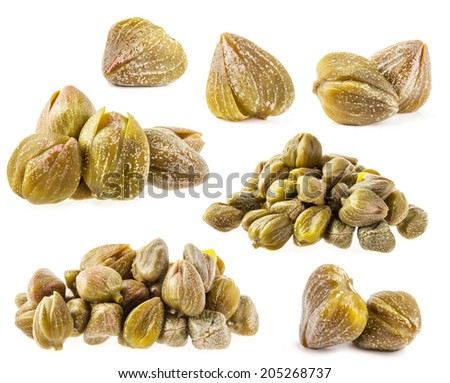 Collections of capers isolated on white background - stock photo