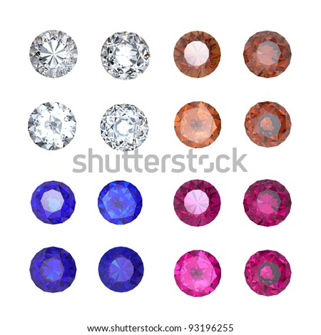 Collections of gems isolated on white background. Gemstone - stock photo
