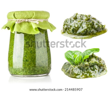 Collections of pesto sauce isolated on white - stock photo