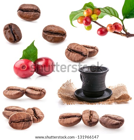 Collections of roasted and red coffee beans, drink a cup of coffee  isolated on white background - stock photo