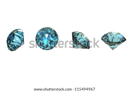 Collections of round shape jewelry gems on white. Swiss blue topaz - stock photo
