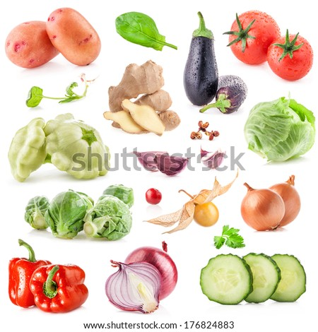 Collections of vegetable isolated on white - stock photo