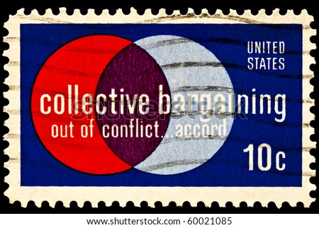 Collective Bargaining postal issue. Labor and management. Collective bargaining law was enacted in 1935, in the Wagner Act. Issued in 1975 - stock photo