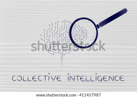collective intelligence: magnifying glass analyzing an electronic circuit brain - stock photo