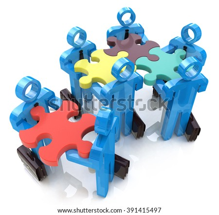 Collective works. Partnership. Teamwork in the design of information related to teamwork - stock photo