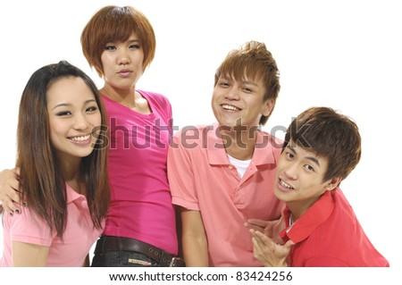 College friends laughing isolated - stock photo