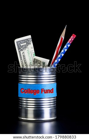 College fund tin can with cash. - stock photo