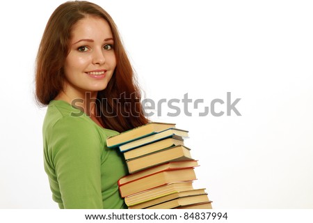 College girl with pile of books isolated on white - stock photo