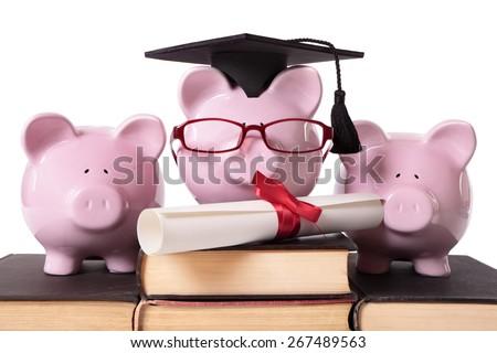 College graduation concept, piggy bank - stock photo