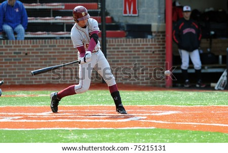COLLEGE PARK, MD - APRIL 2: Florida State University infielder Jayce Boyd swings at a pitch during a game against conference foe Maryland April 2, 2011 in College Park, MD. - stock photo