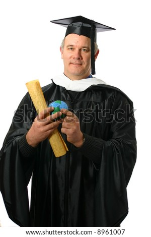 College professor or graduate with diploma and the world in his hands - stock photo