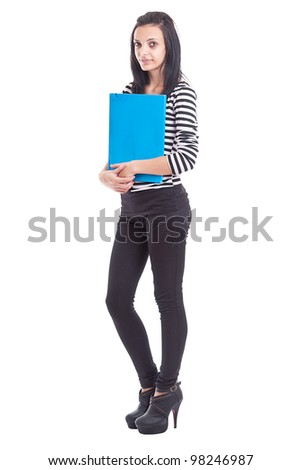 College Student girl. Isolated full length portrait of a beautiful young woman student - stock photo