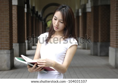 College student on campus - stock photo