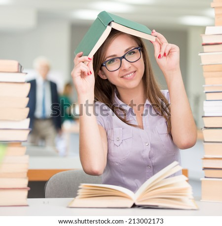 College student on university campus - stock photo