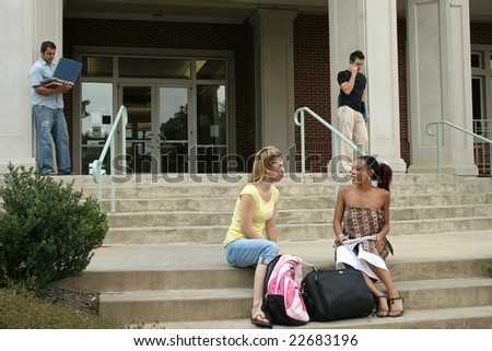 College students on campus. - stock photo