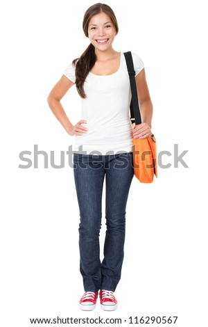 College university student woman. Happy smiling adult female student standing in full body length isolated on white background. Beautiful young multiracial Asian Chinese / Caucasian girl in her 20s - stock photo