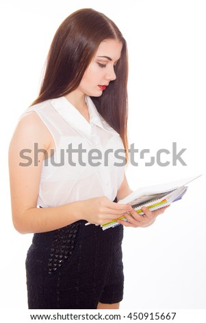 College university student woman  wih notebook over white background  - stock photo